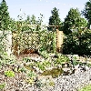 Residence, Ochoco Heights, Prineville, Or. waterfall,  pond, shrub and beds.
